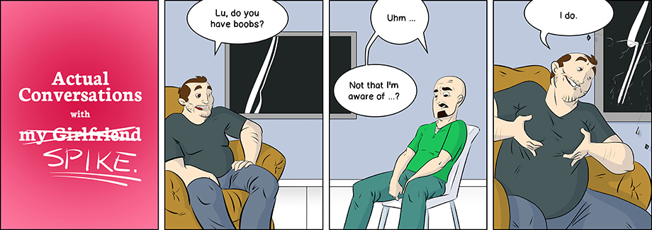Piece of Me. A webcomic about odd questions and moobs.