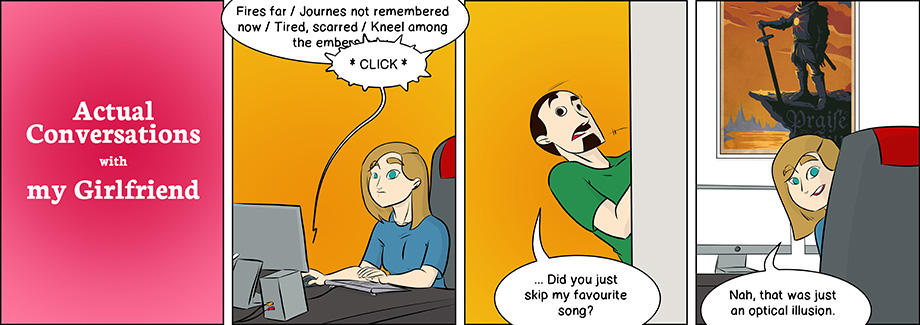 Piece of Me. A webcomic about favourite songs and interrupting my playlists.