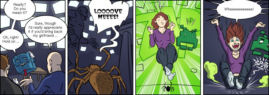 Piece of Me. A webcomic about flat spiders in love.
