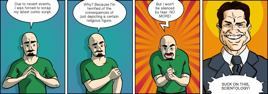 Piece of Me. A webcomic about religious zealots and self-censorship.