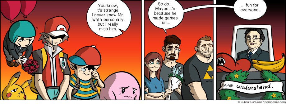 Piece of Me. A webcomic about the sudden passing of a video game legend.