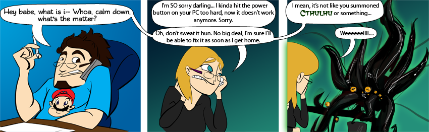 Piece of Me - A webcomic about a broken pc and cthulhu.