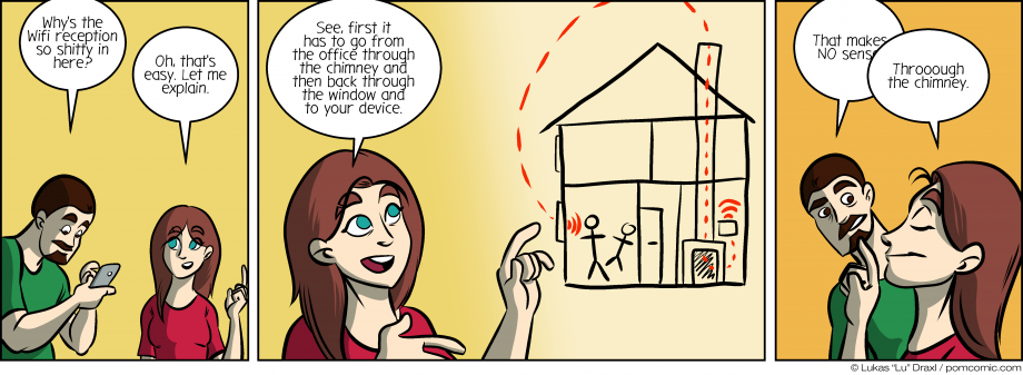 Piece of Me. A webcomic about crappy WiFi reception and unlikely explanations.