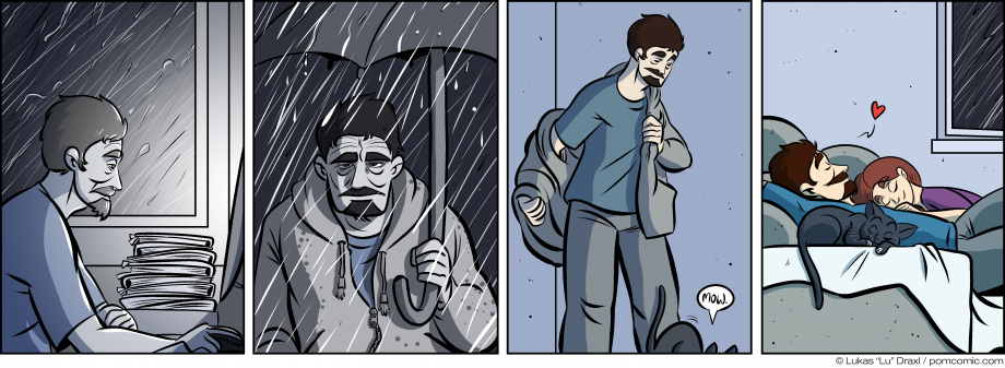Piece of Me. A webcomic about the grey, cold daily grind and a loving home.