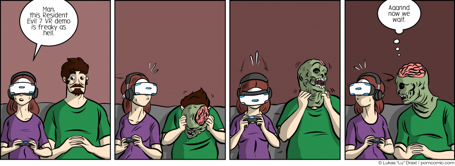 Piece of Me. A webcomic about spooky VR experiences and early Halloween pranks.