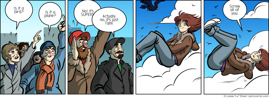 Piece of Me. A webcomic about flying people who are no superheroes.