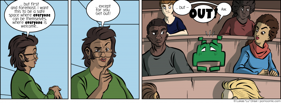 Piece of Me. A webcomic about safe spaces and unwanted guests.