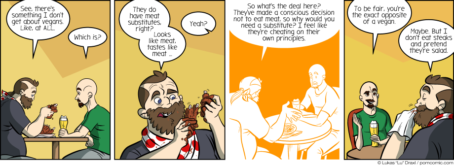 Piece of Me. A webcomic about wrapping your head around meat substitutes.
