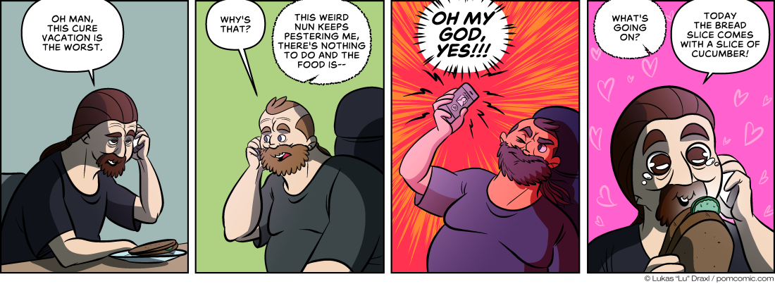 Piece of Me. A webcomic about the awfulness of cure vacations and small joys in life.