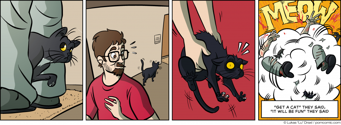 Piece of Me. A webcomic about cats that hate to be lifted.
