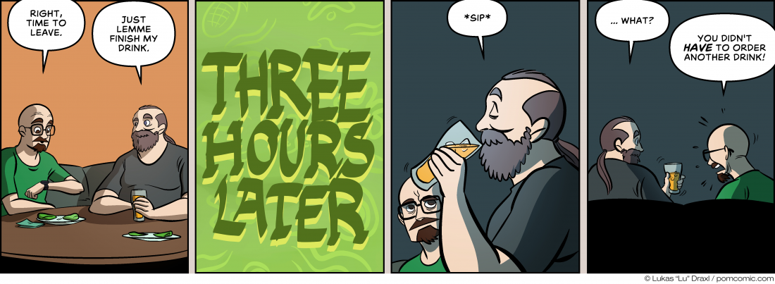 Piece of Me. A webcomic about taking your leave and finishing drinks.