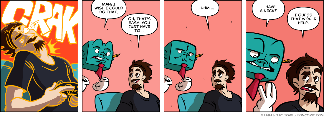 Piece of Me. A webcomic about cracking necks and a lack thereof.