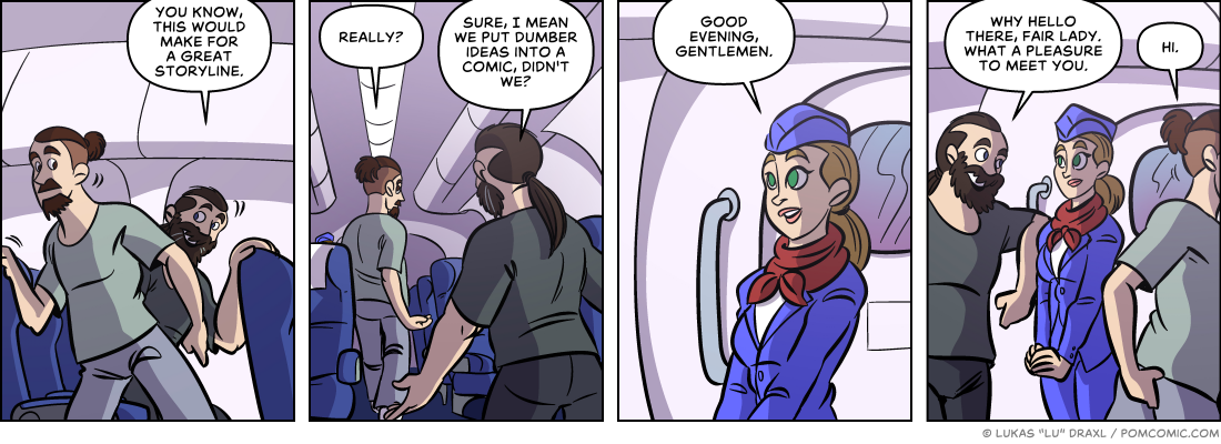 Piece of Me. A webcomic about musings on a plane and cute stewardesses.