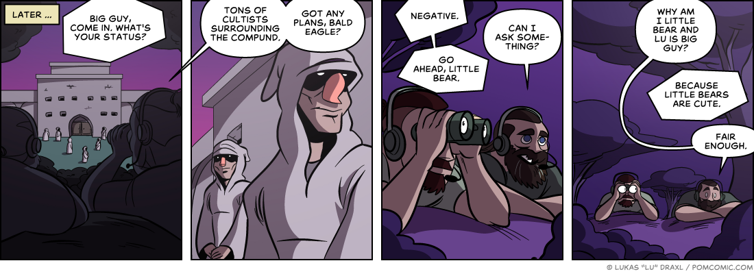 Piece of Me. A webcomic about sneaking into the cultist's compound and fitting code names.